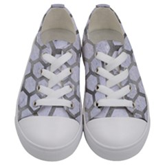 Hexagon2 White Marble & Silver Paint (r) Kids  Low Top Canvas Sneakers