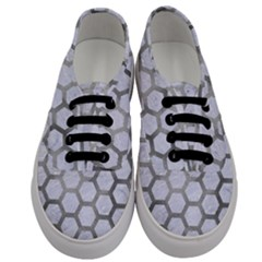 Hexagon2 White Marble & Silver Paint (r) Men s Classic Low Top Sneakers