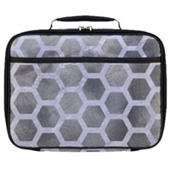 Hexagon2 White Marble & Silver Paint Full Print Lunch Bag
