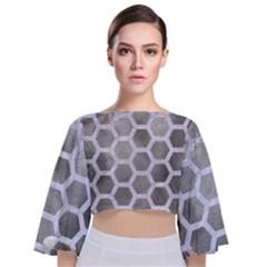 Hexagon2 White Marble & Silver Paint Tie Back Butterfly Sleeve Chiffon Top