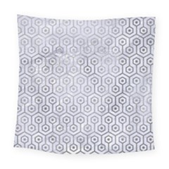 Hexagon1 White Marble & Silver Paint (r) Square Tapestry (large)