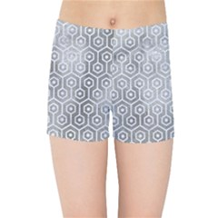 Hexagon1 White Marble & Silver Paint Kids Sports Shorts