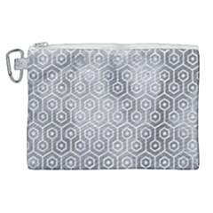 Hexagon1 White Marble & Silver Paint Canvas Cosmetic Bag (xl)