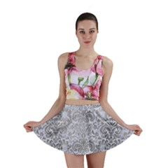 Damask2 White Marble & Silver Paint (r) Mini Skirt