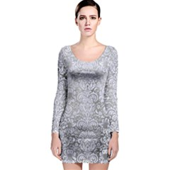 Damask2 White Marble & Silver Paint Long Sleeve Bodycon Dress