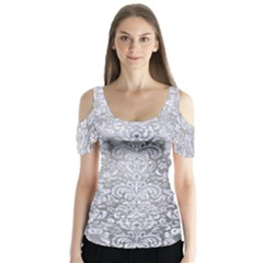 Damask2 White Marble & Silver Paint Butterfly Sleeve Cutout Tee