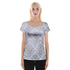 Damask1 White Marble & Silver Paint (r) Cap Sleeve Tops