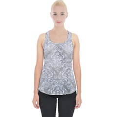 Damask1 White Marble & Silver Paint Piece Up Tank Top