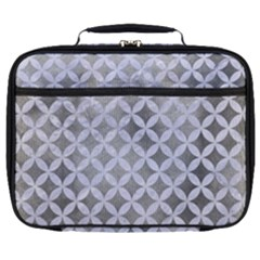 Circles3 White Marble & Silver Paint Full Print Lunch Bag