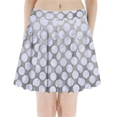 Circles2 White Marble & Silver Paint Pleated Mini Skirt