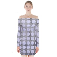 Circles1 White Marble & Silver Paint Long Sleeve Off Shoulder Dress