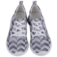 Chevron2 White Marble & Silver Paint Women s Lightweight Sports Shoes