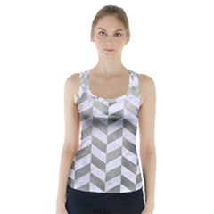 Chevron1 White Marble & Silver Paint Racer Back Sports Top
