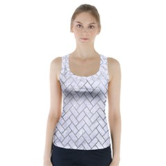 Brick2 White Marble & Silver Paint (r) Racer Back Sports Top