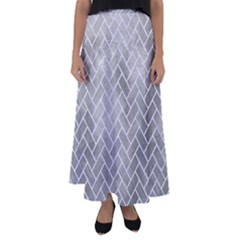 Brick2 White Marble & Silver Paint Flared Maxi Skirt