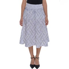 Woven2 White Marble & Silver Glitter (r) Perfect Length Midi Skirt