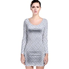 Woven2 White Marble & Silver Glitter Long Sleeve Bodycon Dress