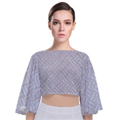 Woven2 White Marble & Silver Glitter Tie Back Butterfly Sleeve Chiffon Top