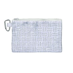 Woven1 White Marble & Silver Glitter (r) Canvas Cosmetic Bag (medium)