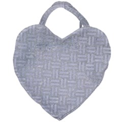 Woven1 White Marble & Silver Glitter Giant Heart Shaped Tote