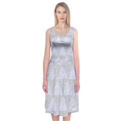 Triangle3 White Marble & Silver Glitter Midi Sleeveless Dress