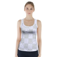 Square1 White Marble & Silver Glitter Racer Back Sports Top