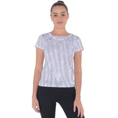 Skin4 White Marble & Silver Glitter Short Sleeve Sports Top