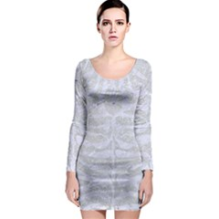 Skin2 White Marble & Silver Glitter Long Sleeve Bodycon Dress