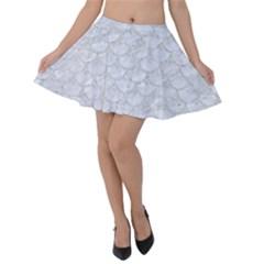 Scales3 White Marble & Silver Glitter (r) Velvet Skater Skirt