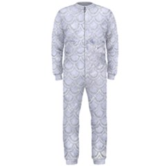 Scales2 White Marble & Silver Glitter (r) Onepiece Jumpsuit (men)