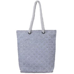 Scales2 White Marble & Silver Glitter Full Print Rope Handle Tote (small)
