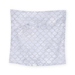 Scales1 White Marble & Silver Glitter (r) Square Tapestry (small)