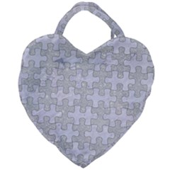 Puzzle1 White Marble & Silver Glitter Giant Heart Shaped Tote