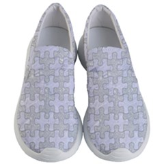 Puzzle1 White Marble & Silver Glitter Women s Lightweight Slip Ons