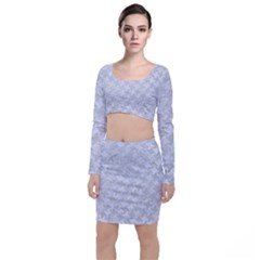 Houndstooth2 White Marble & Silver Glitter Long Sleeve Crop Top & Bodycon Skirt Set