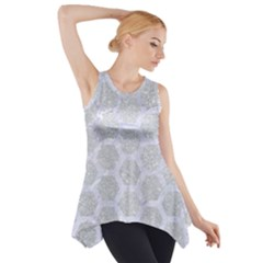 Hexagon2 White Marble & Silver Glitter Side Drop Tank Tunic