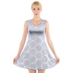 Hexagon2 White Marble & Silver Glitter V Neck Sleeveless Skater Dress