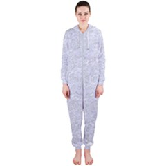 Damask2 White Marble & Silver Glitter (r) Hooded Jumpsuit (ladies)