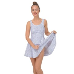 Damask2 White Marble & Silver Glitter Inside Out Dress