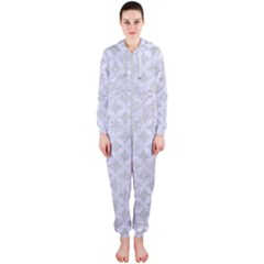 Circles3 White Marble & Silver Glitter Hooded Jumpsuit (ladies)