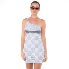 Circles2 White Marble & Silver Glitter (r) One Soulder Bodycon Dress