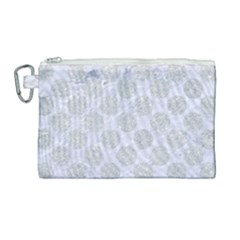 Circles2 White Marble & Silver Glitter (r) Canvas Cosmetic Bag (large)