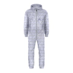 Brick1 White Marble & Silver Glitter (r) Hooded Jumpsuit (kids)