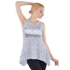 Brick1 White Marble & Silver Glitter (r) Side Drop Tank Tunic