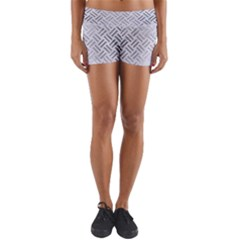 Woven2 White Marble & Silver Brushed Metal (r) Yoga Shorts