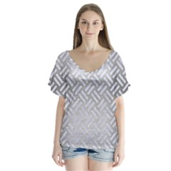 Woven2 White Marble & Silver Brushed Metal V Neck Flutter Sleeve Top