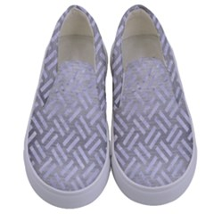 Woven2 White Marble & Silver Brushed Metal Kids  Canvas Slip Ons