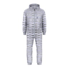 Woven1 White Marble & Silver Brushed Metal (r) Hooded Jumpsuit (kids)