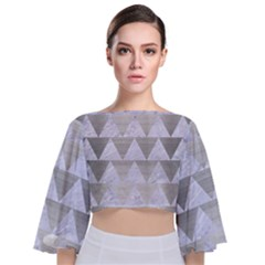 Triangle2 White Marble & Silver Brushed Metal Tie Back Butterfly Sleeve Chiffon Top
