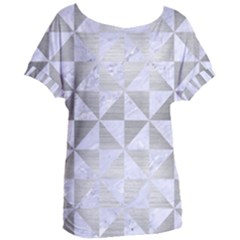 Triangle1 White Marble & Silver Brushed Metal Women s Oversized Tee